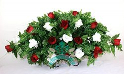 XL Red w White Roses Silk Flower Cemetery Tombstone Saddle Arrangement