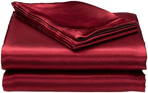 """Bedify Bedding 100% Pure Silk Satin Sheet Set 4pcs, Silk Fitted Sheet 15"""" Deep Pocket,Silk ..."""