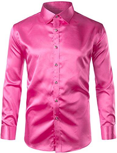 ZEROYAA Mens Regular Fit Long Sleeve Shiny Satin Silk Like Dance Prom Dress Shirt Tops Z6 Rose R ...
