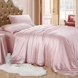 Roch Linen Silk Satin Comforter Comforter Set King/Cal-King | Rose Pink Comforter with Microfibe ...