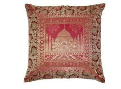 FashionShopmart Indian Ethnic Banarsi Brocade Silk Cushion Cover Indian Style Silk Pillow Cover  ...