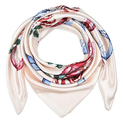corciova 35″ Women Polyester Silk Feeling Hair Scarf for Sleeping C Rose Flower Misty Rose