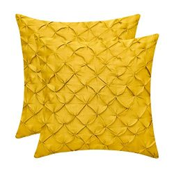The White Petals Mustard Yellow Cushion Covers (Faux Silk, Pinch Pleat, 16×16 inch, Pack of 2)