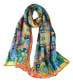 Women's Long Charmeuse Silk Scarf Classic Art Print (Turquoise)