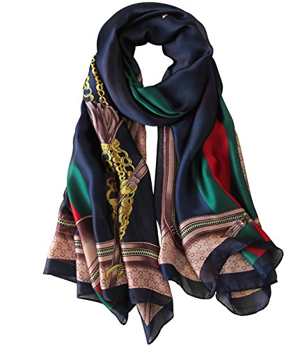JIUMAN Womens Mulberry Silk Scarf Long Satin Scarf Fashion Designer Scarf