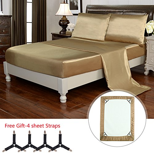 HollyHOME Silky Soft Luxury 4 Piece Deep Pocket Queen Satin Sheet Set, Free Fitted Sheet Straps  ...