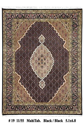 New 5 x 7 Mahi Wool & Silk Black (203 x 155 cm) Lowest Price Handmade Rug