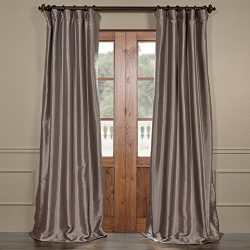 Half Price Drapes PTCH-BO112-120 Blackout Faux Silk Taffeta Curtain, Platinum