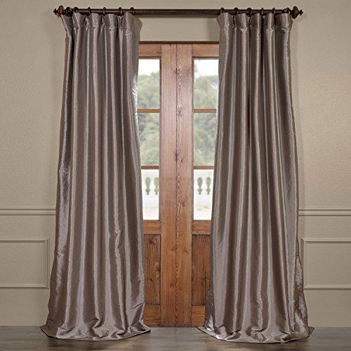 Half Price Drapes PTCH-BO112-120 Blackout Faux Silk Taffeta Curtain, Platinum