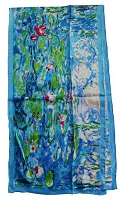 Van Gogh and Claude Monets Paintings, Fashion Silk Scarf Premium Shawl Wrap Art (Claude Monet&#8 ...