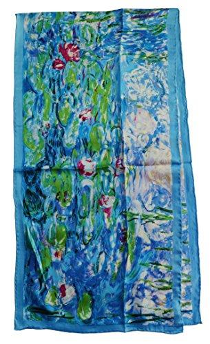 Van Gogh and Claude Monets Paintings, Fashion Silk Scarf Premium Shawl Wrap Art (Claude Monet&#8 ...