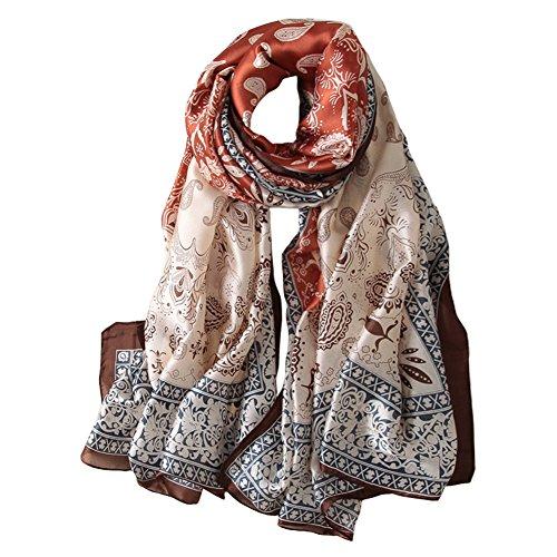Alice Women Classy Silk Paisley Print Long Scarf Shawls Wraps Burgundy