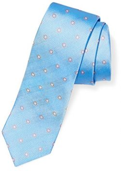 BUTTONED DOWN Men's Classic Silk 3″ Necktie, light blue/orange flowers, X-Long