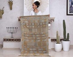 Moroccan Cactus Silk Rug, Hand Woven by Berbers from Morocco's High Atlas Mountains, 4&#82 ...