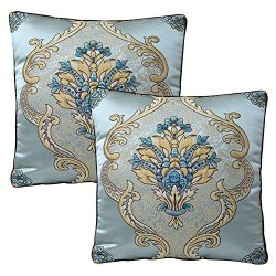 TEALP Embroidered Pillow Cover Art Silk Square Pillow Covers Damask Floral 18 X 18 inches Teal