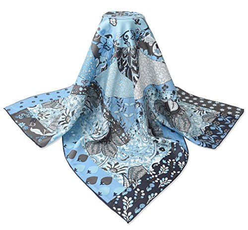 corciova 35″ 14 Timmy Twill 100% Real Mulberry Silk Square Women Scarfs Scarves Pale Cerul ...