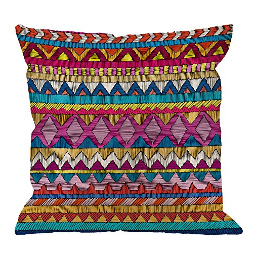 HGOD DESIGNS Indian Sari Pillow Covers,Decorative Throw Pillow Embroidered Pattern Ornament Colo ...
