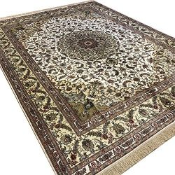 Camel Carpet 9′ x 12′ Persian Silk Carpet Hand Made Antique Oriental Rug