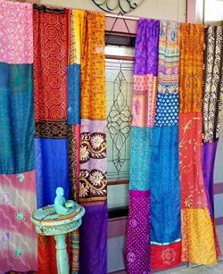 Boho Curtains Hippie Hippy HippieWild Bohemian Gypsy silk saree sari burlap valance multicolor p ...