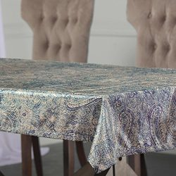 PTPCH-170804-TC-108 Wilton Designer Faux Silk Taffeta Table Cloth, Blue, 54 x 108