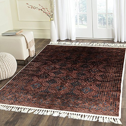 Home Must Haves Brown Blue Luxury High Density Large Super Soft Faux Silky Persian Oriental Flat ...