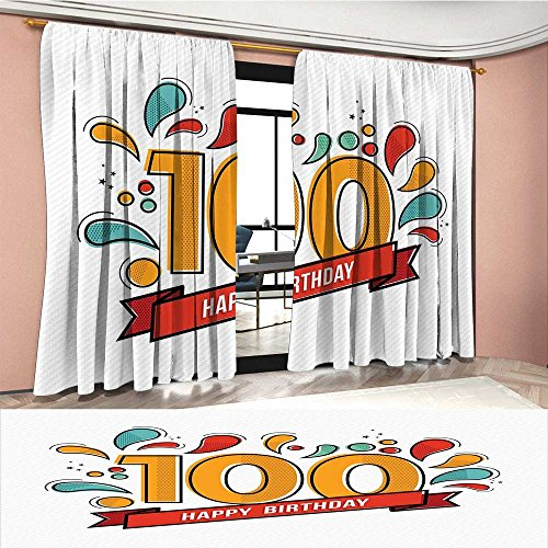 Mannwarehouse 100th Birthday Window Curtain Drape Grannies Lived for Centuries 100 Birthday Part ...