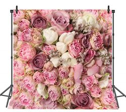 Sensfun 8×8 FT Rose Floral Wall Portraits Photography Backdrop Wedding Decoration Silk Fabr ...