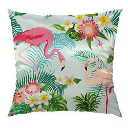 Moslion Flamingo Pillow Decorative Throw Pillow Cover Tropical Flowers Birds Satin Square Cushio ...