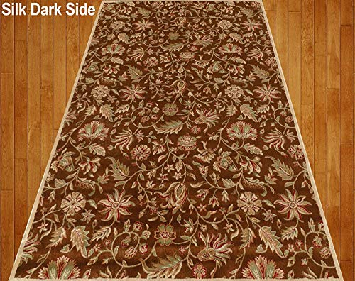 Home Must Haves Silky Beige Cream Brown Red Green Traditional Persian Floral Faux Silk Rug Carpe ...