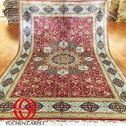 YuchenRug 6×9 Fine Silk Vintage Qum Persian Rug