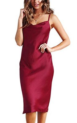 Angashion Women's Dresses – Sexy Elegant Printed Spaghetti Strap Silky Satin Party C ...