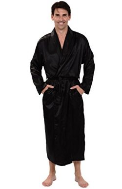 Alexander Del Rossa Mens Satin Robe, Long Lightweight Loungewear, Large Black (A0720BLKLG)