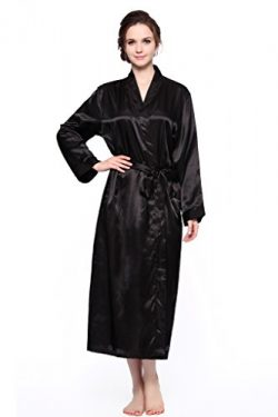 Sunrise Women's Long Classic Satin Kimono Lounge Bathrobe Robe (X-Large, Black)