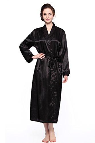 Sunrise Women's Long Classic Satin Kimono Lounge Bathrobe Robe (X-Large, Black)