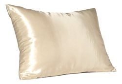 Shop Bedding Luxury Satin Pillowcase for Hair – Standard Satin Pillowcase with Zipper, Ivory (Pi ...