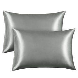 FAMIROSA Silk Satin Pillowcase 2 Pack, Queen Satin Bedding Sets Pillow Cover Preventing Hair Kno ...