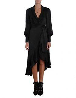 XINHONG W omen's Sapphire Ruffle Dress (XXX-Large, Black)