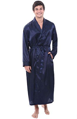 Alexander Del Rossa Mens Satin Robe, Long Lightweight Loungewear, Large Midnight Blue (A0720MBLLG)