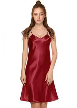 Latuza Women's Satin Chemise Spaghetti Straps Slip Nightgown XL Red