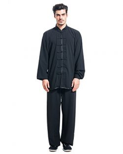 ICNBUYS Men's Kung Fu Tai Chi Uniform Cotton Silk XXL Black