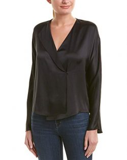 Vince Women's Drape Panel Blouse, Black, Medium