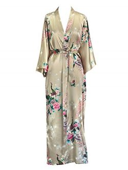 Old Shanghai Women's Kimono Long Robe – Peacock & Blossoms – Champagne (on ...