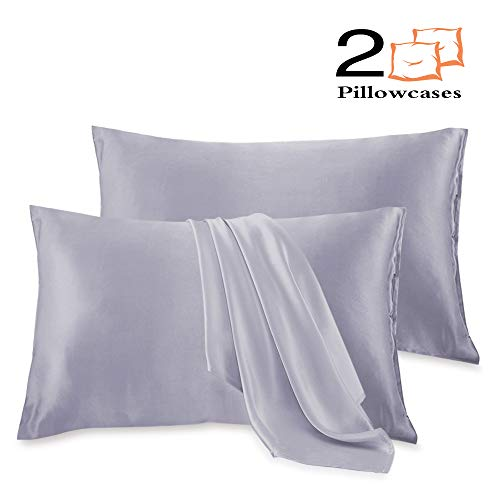 Leccod 2 Pack Silk Satin Pillowcase for Hair and Skin Cool Super Soft and Luxury Pillow Cases Co ...