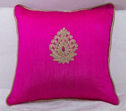 Silk cushion cover set of 2 with beautiful golden embroidered motif