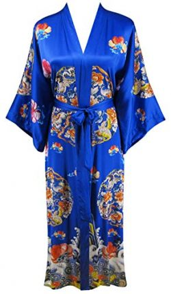 Ledamon Women's 100% Silk Kimono Long Robe – Classic Colors and Prints (Sapphire Blue)