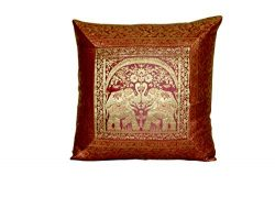 Indian Silk Cushion Cover Indian Ethnic Banarsi Style Elephant Silk Pillow Cover Decorative Sofa ...