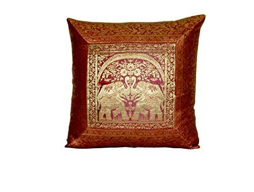 Indian Silk Cushion Cover Indian Ethnic Banarsi Style Elephant Silk Pillow Cover Decorative Sofa ...