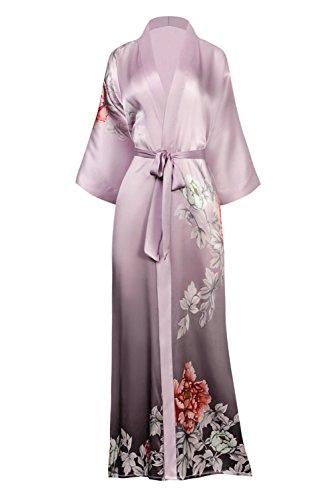 KIM + ONO Women's Silk Kimono Robe Long – Floral Print, Botan- Dusty Lilac