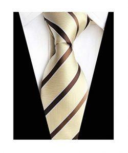 MENDENG Classic Striped Brown Champagne Streak 100 Silk Men's Tie Necktie Ties