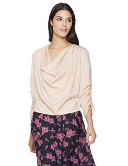 Suite Alice Women's Women's 3/4 Sleeve Drape Front Cowl Neck Top Small Pink
